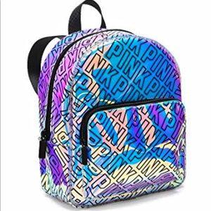Pink VS iridescent logo backpack